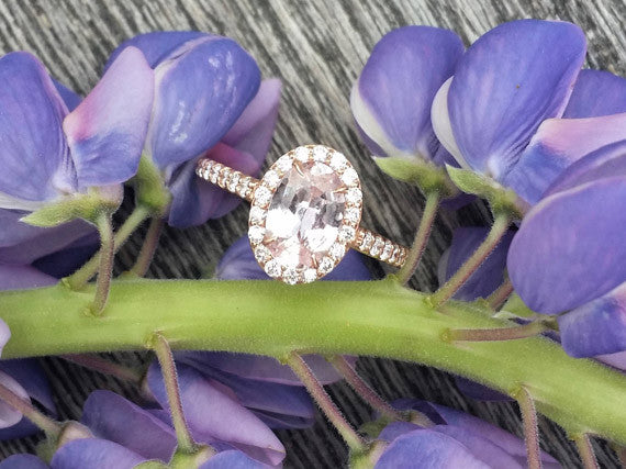 Pink Peach Sapphire Rose Gold Engagement Ring
