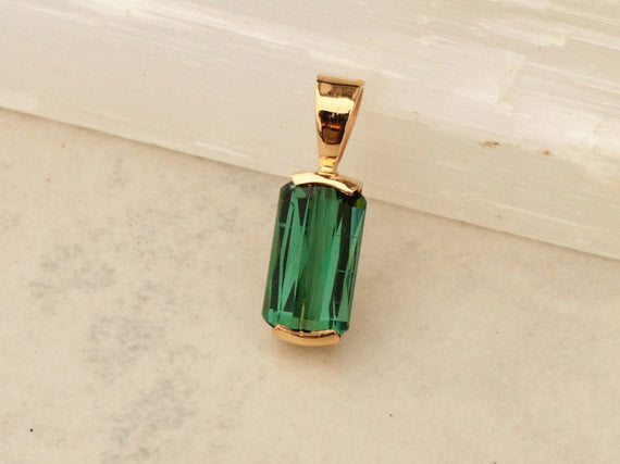 Handmade Green Tourmaline and 14k Yellow Gold Pendant