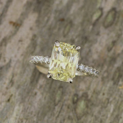 radiant cut yellow sapphire diamond accented ring