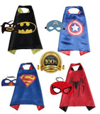 4 PACK Satin Superhero CAPE & MASK SETS - Boys Girls Children - Chickadee Solutions - 1