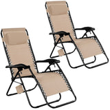 Goplus 2PC Zero Gravity Chairs Lounge Patio Folding Recliner Outdoor Yard Bea... - Chickadee Solutions - 1