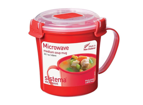Sistema Microwave Cookware Soup Mug Medium 22.1 Ounce/ 2.8 Cup Red - Chickadee Solutions - 1