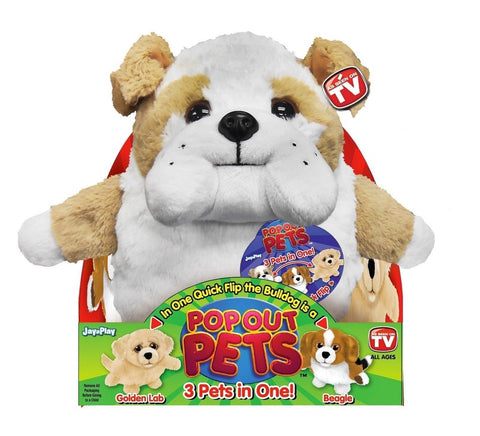 Pop Out Pets Dogs Reversible Plush Toy Get 3 Stuffed Animals in One - Bulldog... - Chickadee Solutions - 1