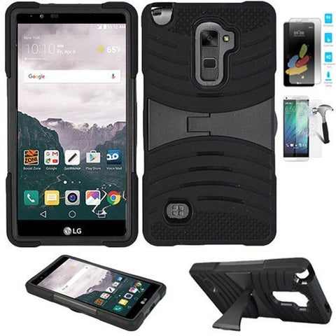 Phone Case for LG Stylo 2 4g LTE Tempered Glass Screen Protector with Heavy D... - Chickadee Solutions - 1