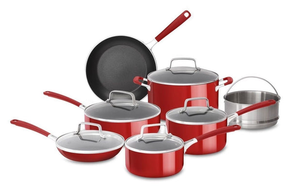 Kitchenaid kc2as12er aluminum nonstick 12 piece cookware set empire red chickadee solutions - Kitchenaid aluminum nonstick piece cookware set ...