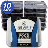 INEVIFIT Meal Prep Premium Quality 3 Compartment Food Containers BPA Free Reu... - Chickadee Solutions - 1