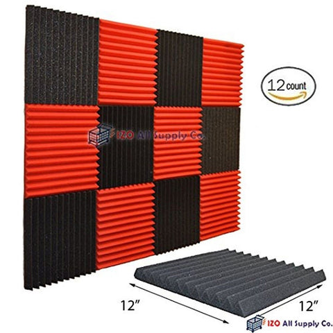"(12 Pk) 1""x12""x12"" RED/CHARCOAL Acoustic Panels Soundproofing Foam Acoustic T... - Chickadee Solutions - 1"