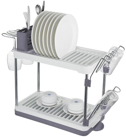 Surpahs 2-Tier Compact Dish Drying Rack (Gray Color) - Chickadee Solutions - 1