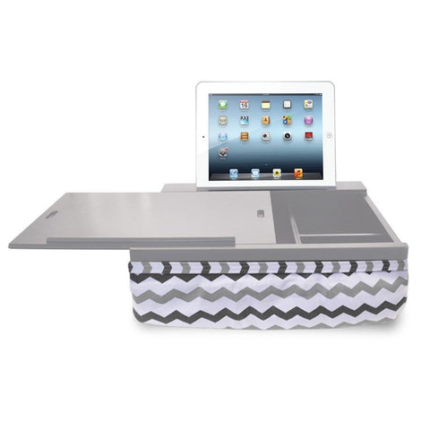 iCozy Portable Cushion Lap Desk With Storage - Grey Chevron - Chickadee Solutions - 1