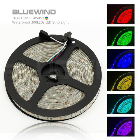 Blue Wind 16.4FT 5M SMD 5050 Waterproof 300LEDs RGB Color Changing Flexible L... - Chickadee Solutions - 1