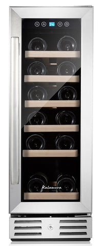 Kalamera 12'' Wine refrigerator 18 Bottle Built-in or Freestanding with Stain... - Chickadee Solutions