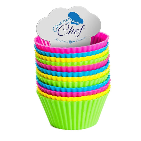 Reusable Silicone NonStick Baking Cups- Assorted Colors Cupcake Holder Set- 2... - Chickadee Solutions - 1