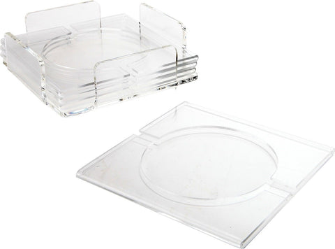 ARAD Clear Acrylic Combo Napkin Holder Coasters With Coaster Holder Set of 4 - Chickadee Solutions