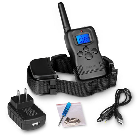 Slicemall Rechargeable Dog Training Collar With Remote Blue Backlight LCD E-c... - Chickadee Solutions - 1