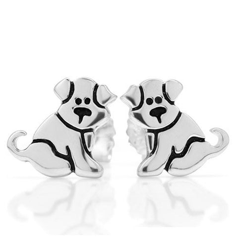 925 Sterling Silver Small Puppy Dog 11 mm Post Stud Earrings - Chickadee Solutions - 1