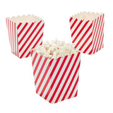 "Paper Mini 4"" Red and White Striped Popcorn Boxes 24 pc - Chickadee Solutions"