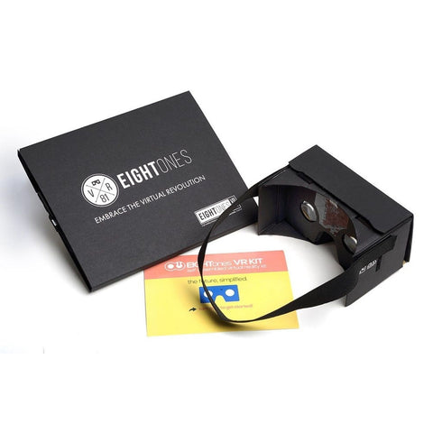 EightOnes VR Google Cardboard Kit with Head Strap and NFC (Jet Black) Jet Black - Chickadee Solutions - 1