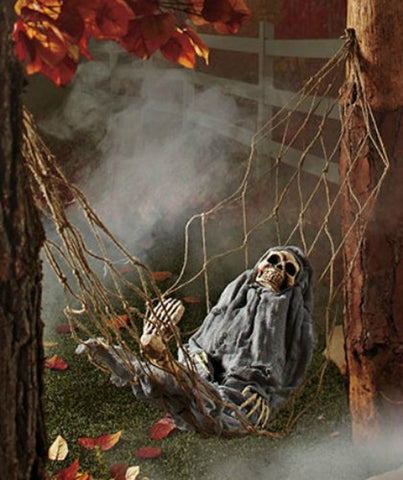 1 X Interactive Skeleton in Hammock spooky Halloween decoration sound-activated - Chickadee Solutions