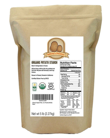Organic Potato Starch Unmodified (5 Pounds) by Anthony's Certified Gluten-Fre... - Chickadee Solutions - 1