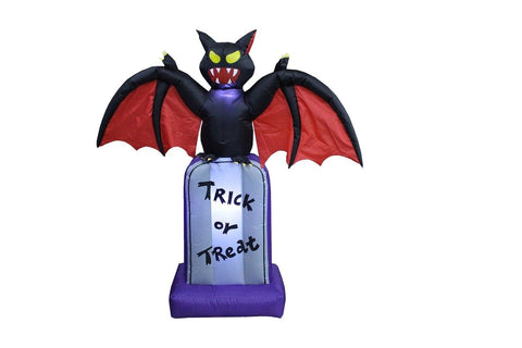 5 Foot Tall Halloween Inflatable Black Bat on Tombstone Decoration - Chickadee Solutions - 1