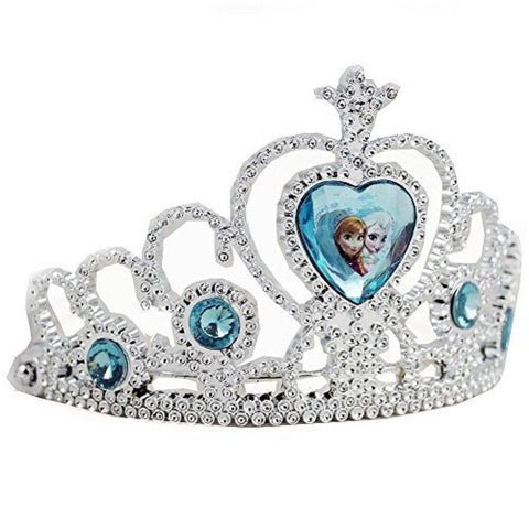 Disney Frozen Tiara Crown - Silver with Blue Elsa and Anna Heart Jewel - Chickadee Solutions