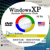 WINDOWS XP - 32 Bit DVD Supports PROFESSIONAL edition. Recover Repair Restore... - Chickadee Solutions - 1
