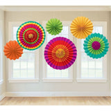 "Amscan Fiesta Paper Fan Decorations (Set of 6) Multi Color 13 x 11"" - Chickadee Solutions"