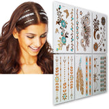 #1 Hair Tattoos - Temporary Tattoos For Hair 6 Premium Sheets - Gold Silver C... - Chickadee Solutions - 1