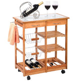 New Rolling Wood Kitchen Trolley Cart Dining Storage Drawers Stand Durable - Chickadee Solutions - 1