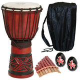 X8 Celtic Labyrinth Djembe Drum with Bag Pan Flute and Shakers - Chickadee Solutions - 1