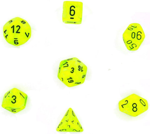 Chessex Dice: Polyhedral 7-Die Vortex Dice Set - BRIGHT Green with Black Numb... - Chickadee Solutions