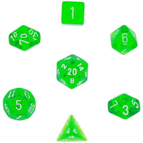 Polyhedral 7-Die Translucent Chessex Dice Set - Green 1-Pack - Chickadee Solutions