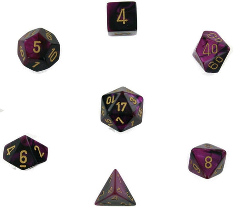 Polyhedral 7-Die Gemini Chessex Dice Set - Black & Purple w/Gold CHX-26440 - Chickadee Solutions
