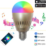 Santaro A19 Bluetooth Smart LED Music Speaker Bulb RGB+W Dimmable - 7W 100-24... - Chickadee Solutions - 1