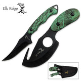 Elk Ridge ER-300CA Hunting Knife Two-Piece Set Straight Edge and Gut Hook Bla... - Chickadee Solutions