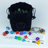 Third Die Dice Bag - Handcrafted Reversible Drawstring Bag. Stands Open On Th... - Chickadee Solutions - 1