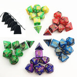 New 5 x 7-Die Series Polyhedral Dice Set - 5 Colors Dungeons and Dragons DND ... - Chickadee Solutions - 1