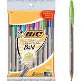 Bic Cristal Xtra-Bold Ball Pens 10 Count Pack Assorted Ink - Chickadee Solutions