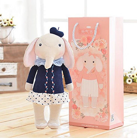 Me Too Stuffed Elephant Dolls Navy Dress 12'' + Gift Bag - Chickadee Solutions - 1