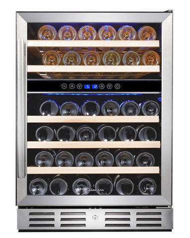 Kalamera 24'' Wine refrigerator 46 Bottle Built-in or Freestanding with Stain... - Chickadee Solutions