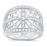 Sterling Silver Cz Filigree Statement Ring (Size 4 - 11) - Chickadee Solutions - 1