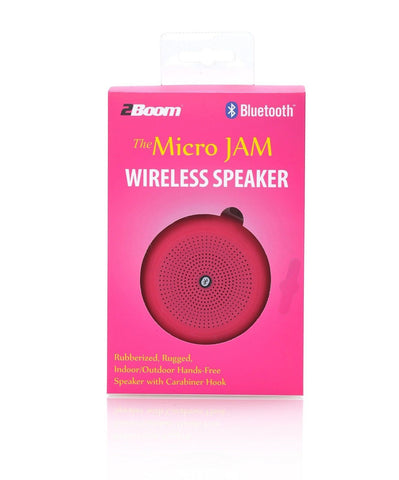 2Boom Micro Jam Wireless Rugged Portable Bluetooth Speaker With Carabiner  Pink
