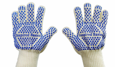 Inspired Basics Grill Gloves 662F Heat Resistant Oven Gloves for Kitchen and ... - Chickadee Solutions - 1