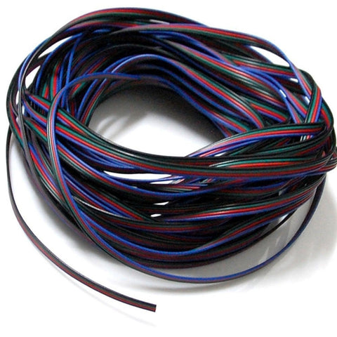 EvZ 4 Color 20m RGB Extension Cable Line for LED Strip RGB 5050 3528 Cord 4pin - Chickadee Solutions - 1
