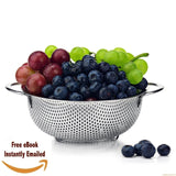 Pasta Strainer Stainless Steel Best Food Colander 1.5 Quart Micro Perforated ... - Chickadee Solutions - 1