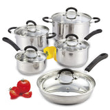 Cook N Home 10 Piece Stainless Steel Cookware Set with Encapsulated Bottom La... - Chickadee Solutions