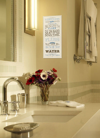 The stupell home decor collection bathroom rules blue and black print bathroo chickadee - Blue and black bathroom decor ...