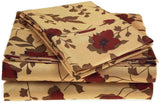 Microfiber Elm Leaves Sheet Set Twin XL Brown - Chickadee Solutions - 1