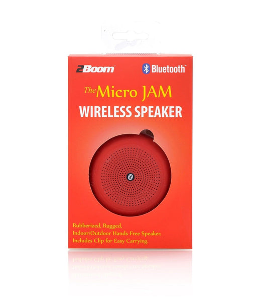 2Boom Micro Jam Wireless Rugged Portable Bluetooth Speaker With Carabiner  Red