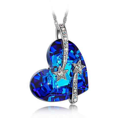 "LadyColour ""Venus"" Shooting Star & Hollow-out Design Heart Sapphire Pendant N... - Chickadee Solutions - 1"